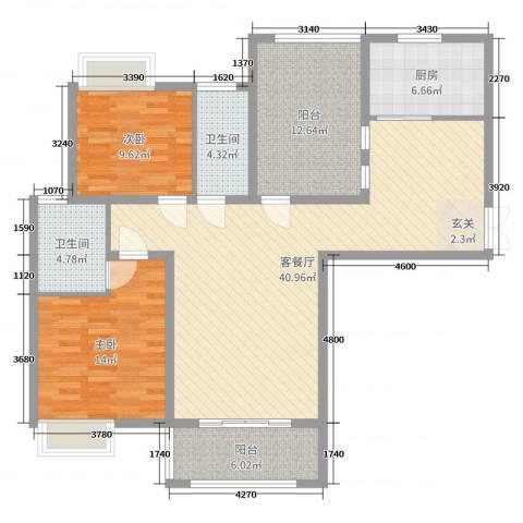 海悦国际2室2厅2卫1厨124.00㎡户型图