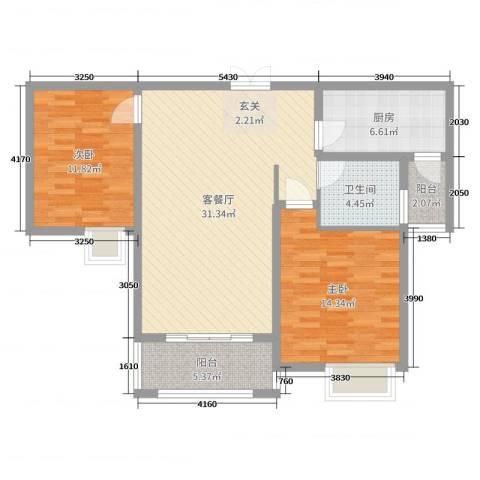 海悦国际2室2厅1卫1厨95.00㎡户型图