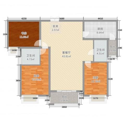 海悦国际3室2厅2卫1厨135.00㎡户型图