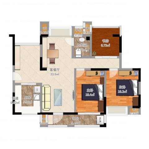 锦绣龙城八期鎏园3室2厅1卫1厨96.00㎡户型图