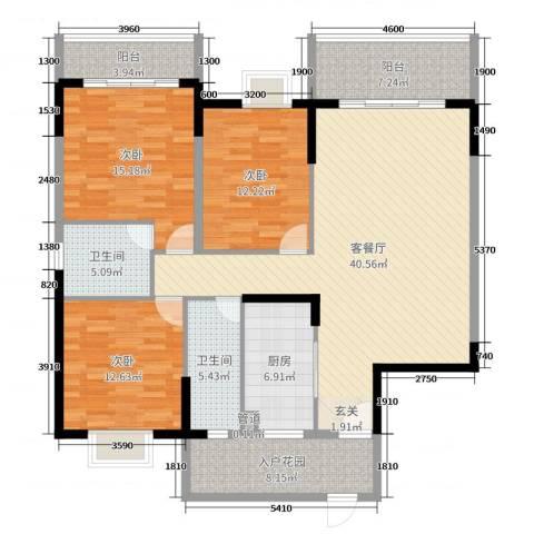 蟠龙御景苑3室2厅2卫1厨136.00㎡户型图