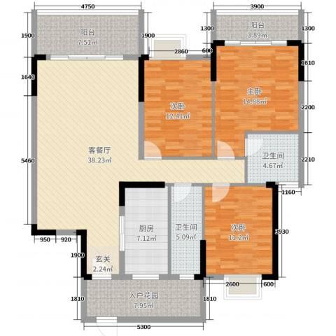 蟠龙御景苑3室2厅2卫1厨133.00㎡户型图