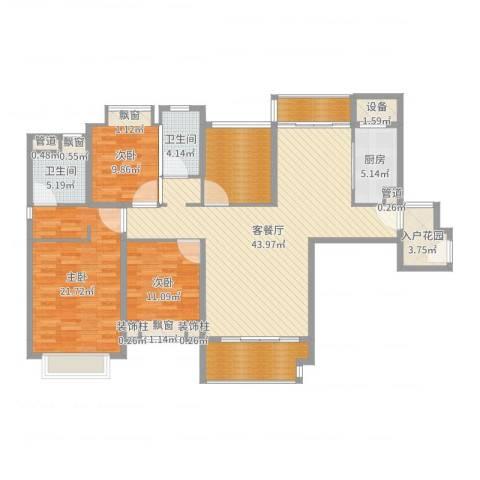 仁恒滨海半岛3室2厅2卫1厨157.00㎡户型图