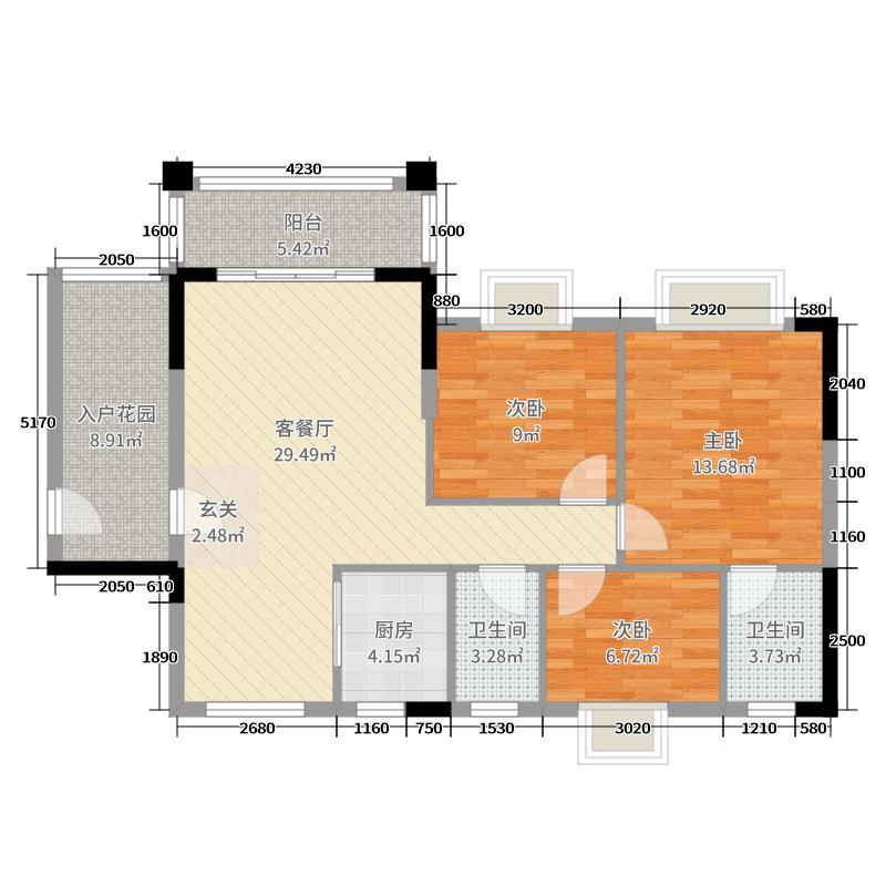 汇嘉・南湾109.09㎡10幢02户型3室3厅2卫1厨