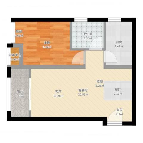 早安北京1室2厅1卫1厨53.00㎡户型图