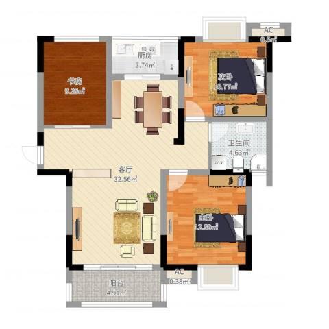中宸御龙湾3室1厅1卫1厨99.00㎡户型图