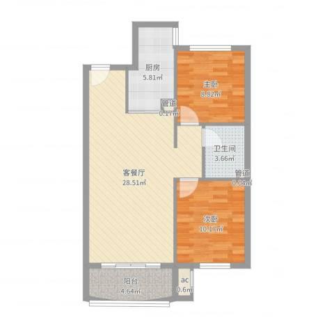 达润时代逸城五期2室2厅1卫1厨78.00㎡户型图