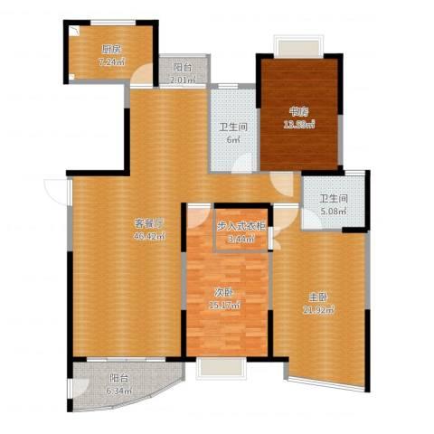 嘉禾现代城3室2厅2卫1厨159.00㎡户型图