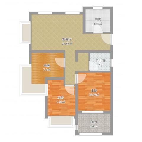 万科草庄西岸3室2厅1卫1厨81.00㎡户型图