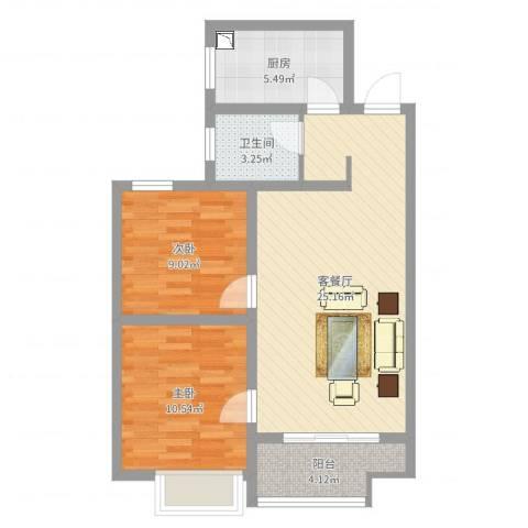 济宁华城翠竹园2室2厅1卫1厨72.00㎡户型图