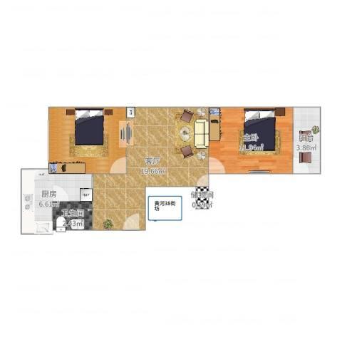 38街坊1室1厅1卫1厨70.00㎡户型图