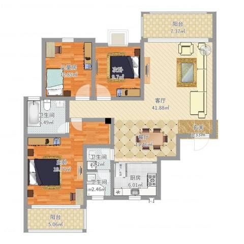 枫雅名苑3室1厅3卫1厨137.00㎡户型图