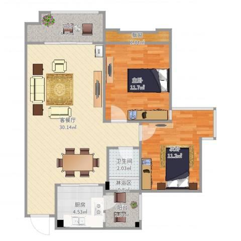 兴发金域丽江2室2厅1卫1厨87.00㎡户型图
