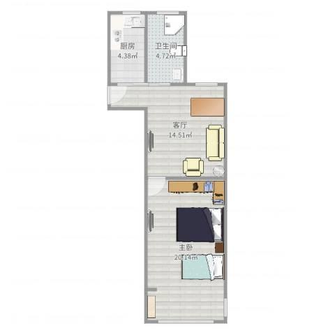 清涧八街坊1室1厅1卫1厨55.00㎡户型图
