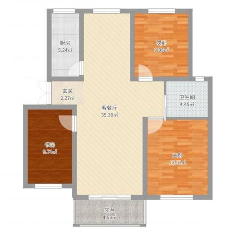 香格里拉花园3室2厅1卫1厨104.00㎡户型图
