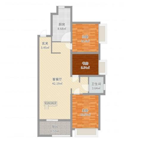 优山美地名邸3室2厅1卫1厨118.00㎡户型图