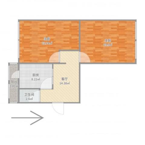 卧龙北里2室1厅1卫1厨95.00㎡户型图