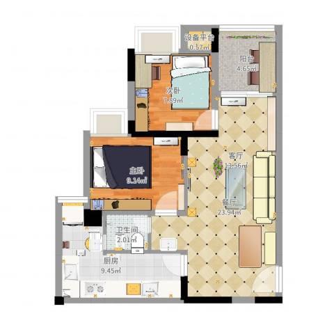 商社时代峰汇地块2室1厅2卫1厨72.00㎡户型图
