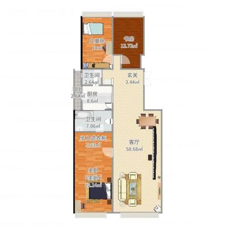 和黄御翠湾3室1厅2卫1厨164.00㎡户型图