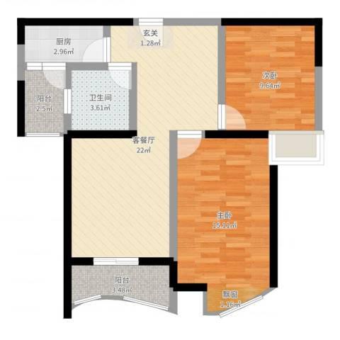 康龙国际广场·龙吟台2室2厅1卫1厨74.00㎡户型图