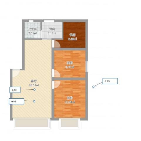 民乐花园3室1厅1卫1厨73.00㎡户型图