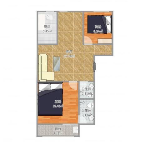 文博家园2室1厅2卫1厨83.00㎡户型图