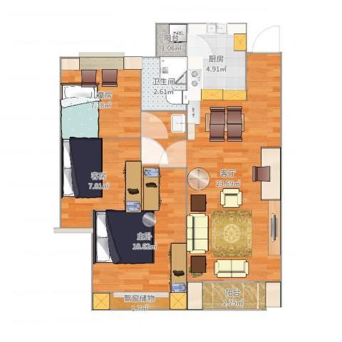 朗诗未来树2室1厅1卫1厨77.00㎡户型图