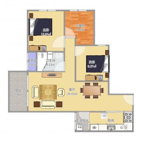 融创凡尔赛花园3室1厅3卫1厨99.00㎡户型图