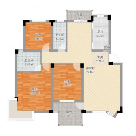 繁华世家3室2厅2卫1厨128.00㎡户型图