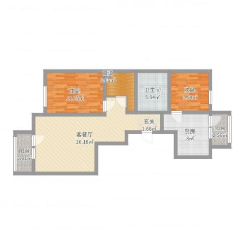 双湖锦苑2室2厅1卫1厨86.00㎡户型图