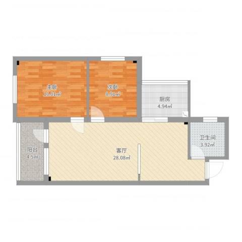 邮电新村2室1厅1卫1厨79.00㎡户型图