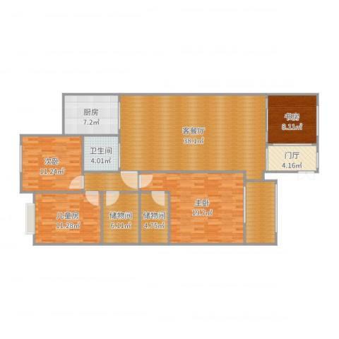 尚东花园4室2厅1卫1厨155.00㎡户型图
