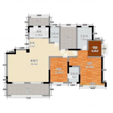 卓锦兰香2室2厅3卫1厨159.00㎡户型图