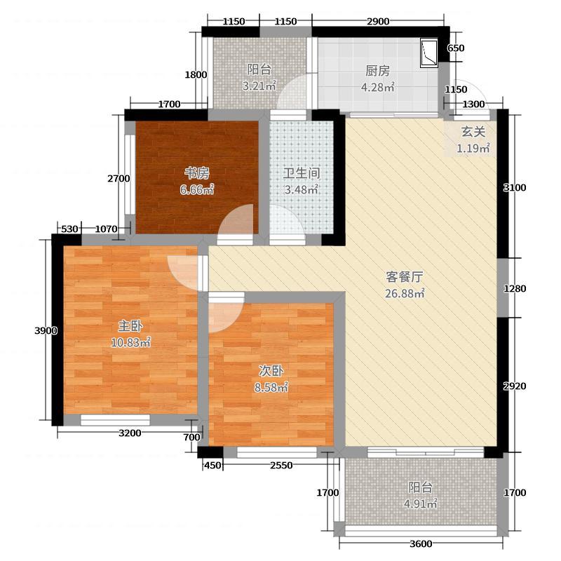 彰泰滟澜山77.11㎡30#C2户型3室3厅1卫1厨