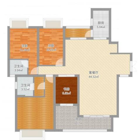碧水云天3室2厅2卫1厨145.00㎡户型图