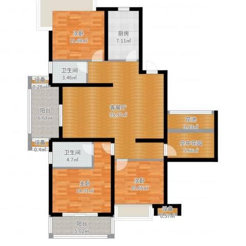 国耀星达城3室2厅2卫1厨137.00㎡户型图