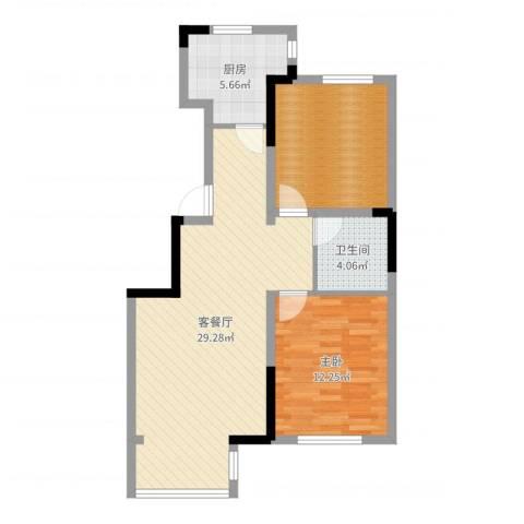 中环福境1室2厅1卫1厨78.00㎡户型图