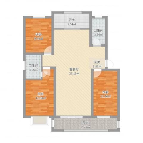 黄河明珠3室2厅2卫1厨90.77㎡户型图