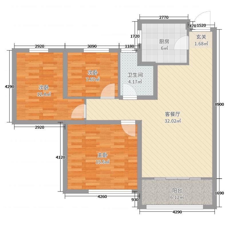 三庆御园105.00㎡5#B2户型3室3厅1卫1厨
