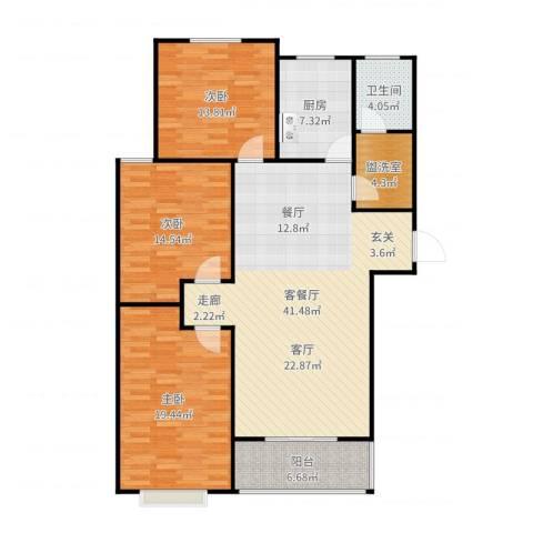 向阳雅园3室2厅1卫1厨140.00㎡户型图