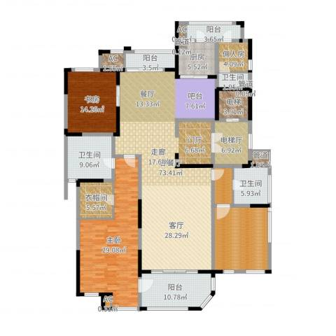 海珀兰轩2室2厅3卫1厨250.00㎡户型图
