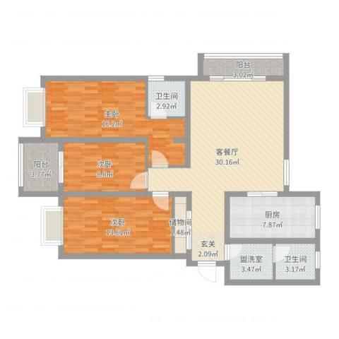翡翠公馆3室4厅2卫1厨94.49㎡户型图