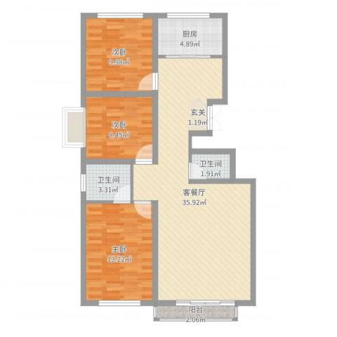 烟草小区3室2厅2卫1厨100.00㎡户型图
