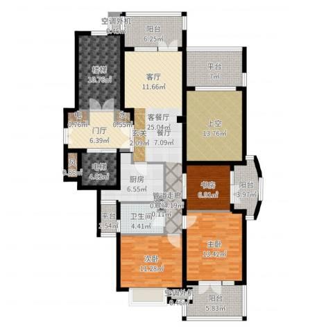 华鸿罗兰春天3室2厅1卫1厨163.00㎡户型图