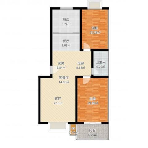 仲宫山水庭院2室2厅1卫1厨128.00㎡户型图