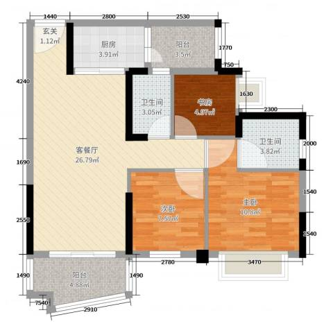 碧桂园・公园1号3室2厅2卫1厨87.00㎡户型图