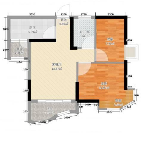碧桂园・公园1号2室2厅1卫1厨65.00㎡户型图