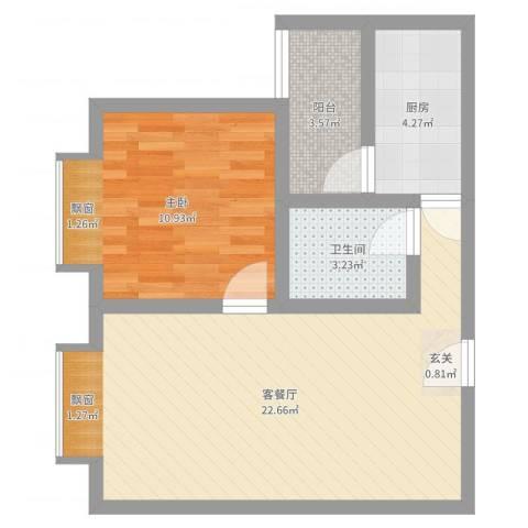 凤凰财富广场1室2厅1卫1厨56.00㎡户型图