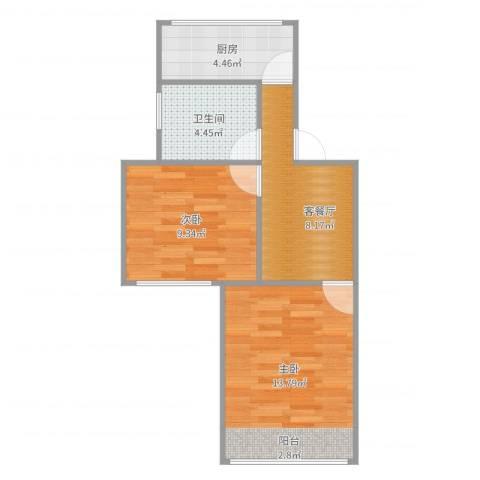 东五小区2室2厅1卫1厨50.00㎡户型图