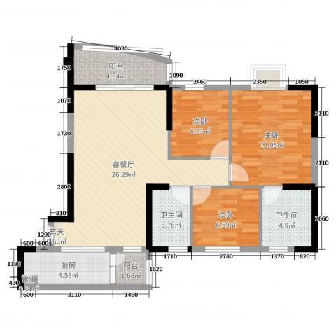 碧桂园・公园1号3室2厅2卫1厨90.00㎡户型图